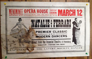 "A historic Menominee Opera House poster promoting ""Natalie & Ferrari"""